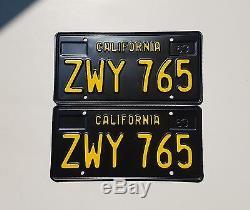 Vintage 1963 Pair California License Plates DMV Clear # ZWY 765 Restored