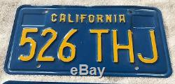 Vintage 2 Matching Set Blue California License Plates-1978 October Tags 526-THJ