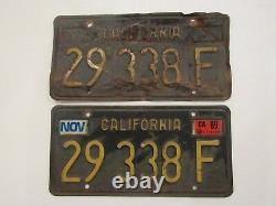 Vintage Black/Gold DMV Clear California License Plates 29338F Set Pair Embossed