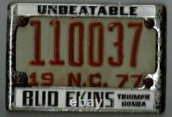 Vintage Bud Ekins UNBEATABLE motorcycle California dealer license plate frame