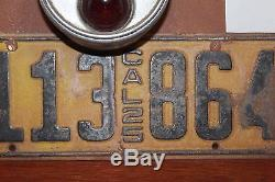 Vintage California 1925 Commercial Single License Plate with Stop Tail Light