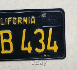 Vintage California 1963 BLACK Yellow LICENSE PLATES DMV clear original 1966 1967