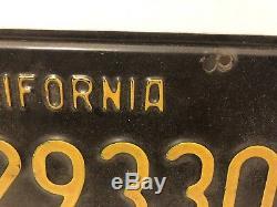 Vintage California Black Exempt License Plates E 129330 Police
