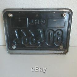 Vintage California Black License Plate With Pit Stop Frame for Motorcycle PARTS
