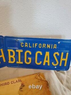 Vintage California Blue Yellow License Plate Matching Set Plates Big Cash All Og