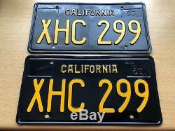 Vintage California License plates Matching set 1963. XHC 299. Super nice