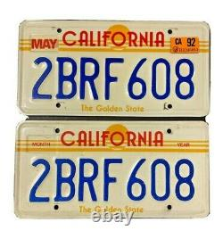 Vintage California The Golden State CA Sun License Plate Pair 1980's