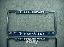 Vintage Chevrolet License Plate Frame Pair, Frontier Fresno Calif, 1 mint 1 used