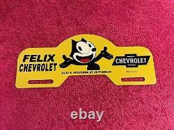 Vintage Felix Chevrolet Metal License Plate Topper Tag Sign California Original