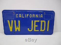Vintage Late 70's California License Plate VW JEDI Volkswagen Star Wars