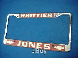 Vintage License Plate Frame Jones Chevrolet Chevy Whittier California Ca Camaro