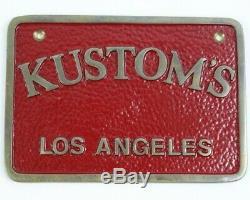 Vintage Original Kustom's Los Angeles Car Club Plaque Plate Solid Brass Hot Rod
