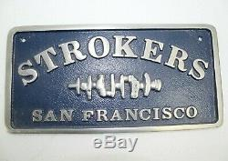Vintage Original Strokers San Francisco Car Club Plaque Plate with Blue Paint