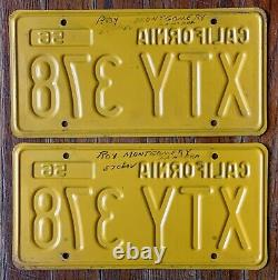 Vintage Pair 1956 1962 California Ca License Plates # Xty 378