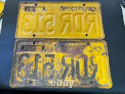Vintage Pair 1956 California License Plates 1959 Stickers #RDR 513