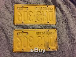 Vintage Pair 1956 Yom DMV Clear California License Plates Yellow Black Ca