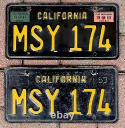 Vintage Pair 1963 1967 1968 California Ca License Plates # Msy-174 Black