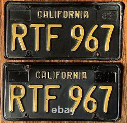 Vintage Pair 1963 63 California Ca License Plates # Rtf 967 Black Yellow
