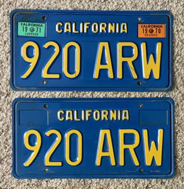 Vintage Pair 1970 1971 California Ca License Plates, # 920 Arw, Blue & Yellow