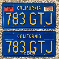 Vintage Pair 1973 73, 1975 75 California Ca License Plates # 783 Gtj Blue