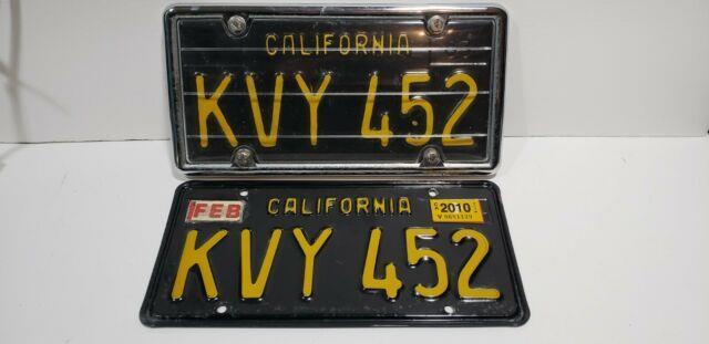 Vintage Pair Set Of Black California License Plates 1963 Kvy 452 1 Orginal Vgc