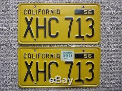 Vintage Pair of 1956 California License Plates, Original Paint, Near Mint