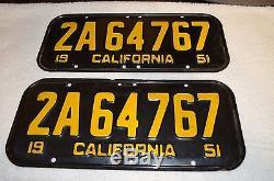 Vintage Pair of CALIFORNIA original un-restored 1951 License Plates / DMV Clear