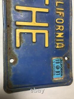 Vintage Personalized Custom California Blue THE Extremely Rare License Plate