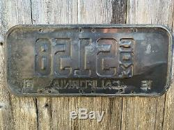 Vintage Rare 1951 California License Plate Commercial #s158