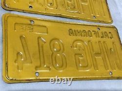 Vintage SET 1956 CALIFORNIA Car Auto License Plates YELLOW & BLACK Cal Calif 56