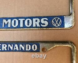 Vintage VW VOKES MOTORS SAN FERNANDO CALIFORNIA Old LICENSE PLATE FRAMES PAIR OG