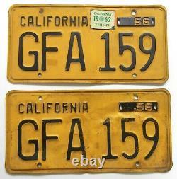 Vtg 1956 Pr DMV CLEAR Yellow CALIFORNIA Auto LICENSE PLATES YOM Set # GFA 159