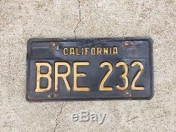 Vtg Pair 1963 Car Automobile LICENSE PLATE Set California Black Yellow BRE 232