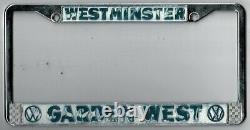 Westminster California GardenWest Volkswagen vintage dealer license plate frame