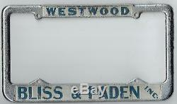 Westwood California Bliss & Paden Chevrolet Vintage Dealer License Plate Frame