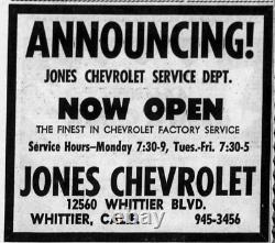 Whittier California Jones Chevrolet Vintage GM Chevy Dealer License Plate Frame