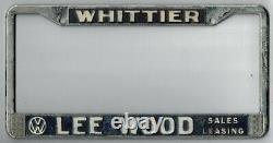 Whittier California LEE WOOD VOLKSWAGEN VW vintage dealer license plate frame