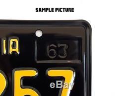 Yom California 1963 Black License Plates Custom Replica Made Of